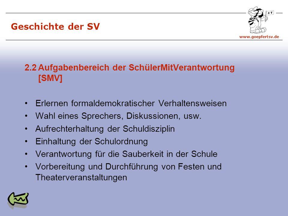 Geschichte der SV 2.2 Aufgabenbereich der SchülerMitVerantwortung [SMV] Erlernen formaldemokratischer Verhaltensweisen.